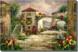 "Ching Tropical Palm Glass Tile Mural 36"" x 24"" - CHC073"