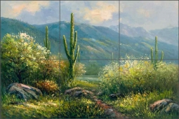 Cactus Trail by C. H. Ching Ceramic Tile Mural CHC074