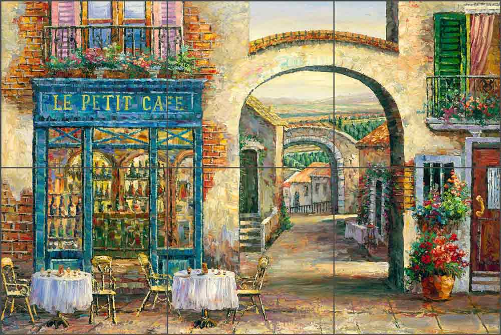 Sidewalk Cafe by C. H. Ching Ceramic Tile Mural CHC077