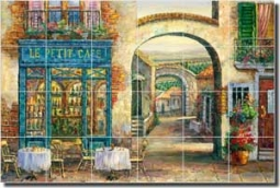 "Ching Sidewalk Cafe Ceramic Tile Mural 25.5"" x 17"" - CHC077"