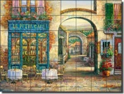 "Ching Sidewalk Cafe Ceramic Tile Mural 48"" x 36"" - CHC077"