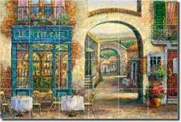 "Ching Sidewalk Cafe Glass Tile Mural 36"" x 24"" - CHC077"