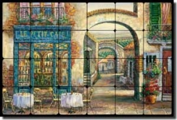 "Ching Sidewalk Cafe Tumbled Marble Tile Mural 24"" x 16"" - CHC077"