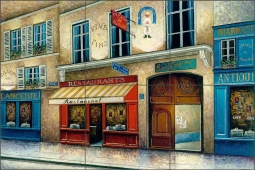 Cafe vin Bistro by C. H. Ching Ceramic Tile Mural CHC078