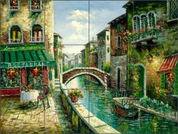 Cafe by the Canal by C. H. Ching Ceramic Tile Mural CHC080