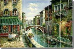 "Ching Cafe Canal CeramicTile Mural 36"" x 24"" - CHC080"