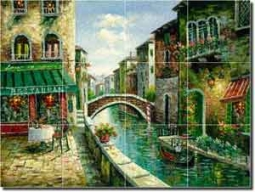 "Ching Cafe Canal Glass Tile Mural 24"" x 18"" - CHC080"