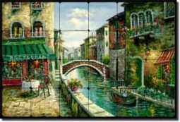 "Ching Cafe Canal Tumbled Marble Tile Mural 24"" x 16"" - CHC080"