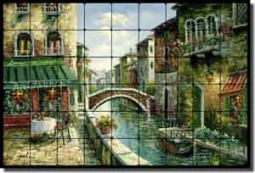 "Ching Cafe Canal Tumbled MarbleTile Mural 36"" x 24"" - 4"" - CHC080"