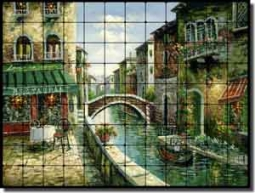 "Ching Cafe Canal Tumbled MarbleTile Mural 48"" x 36"" - 4"" - CHC080"