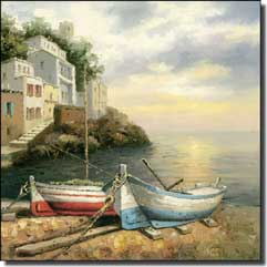 "Ching Village Seascape Ceramic Accent Tile 4.25"" x 4.25"" - CHC081AT"