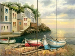 Village Boats by C. H. Ching Ceramic Tile Mural CHC081