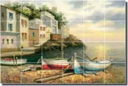 "Ching Village Seascape Ceramic Tile Mural 36"" x 24"" - CHC081"