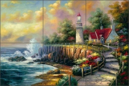 Stoney Point Light by C. H. Ching Ceramic Tile Mural - CHC083