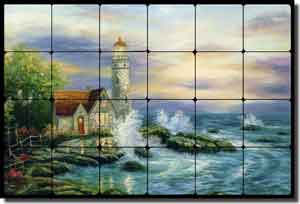 "Ching Lighthouse Seascape Tumbled Marble Tile Mural 24"" x 16"" - CHC085"