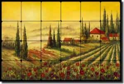 "Ching Tuscan Vineyard Tumbled Marble Tile Mural 24"" x 16"" - CHC088"