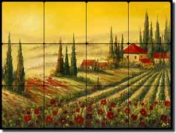 "Ching Tuscan Vineyard Tumbled Marble Tile Mural 24"" x 18"" - CHC088"