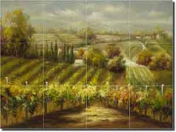 "Ching Tuscan Vineyard Ceramic Tile Mural 17"" x 12.75"""