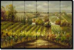 "Ching Tuscan Vineyard Tumbled Marble Tile Mural 36"" x 24"" - CHC089"