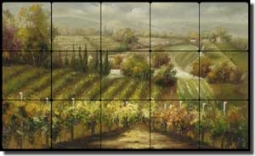 "Ching Tuscan Vineyard Tumbled Marble Tile Mural 30"" x 18"" - CHC089"