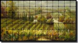 "Ching Tuscan Vineyard Tumbled Marble Tile Mural 52"" x 28"" - CHC089"
