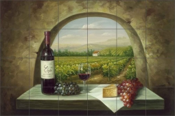 Vineyard View by C. H. Ching Ceramic Tile Mural - CHC090