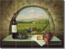 "Ching Tuscan Vineyard Glass Tile Mural 24"" x 18"" - CHC090"