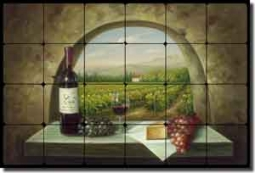 "Ching Tuscan Vineyard Tumbled Marble Tile Mural 24"" x 16"" - CHC090"