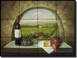 "Ching Tuscan Vineyard Tumbled Marble Tile Mural 24"" x 18"" - CHC090"