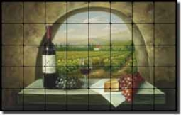 "Ching Tuscan Vineyard Tumbled Marble Tile Mural 32"" x 20"" - CHC090"