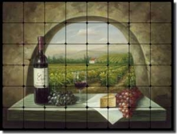 "Ching Tuscan Vineyard Tumbled Marble Tile Mural 48"" x 36"" - CHC090"