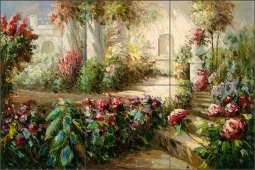 Floral Walkway by C. H. Ching Ceramic Tile Mural CHC091