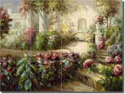 "Floral Walkway  by C. H. Ching - Flowers Ceramic Tile Mural 12.75"" x 17"""