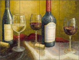 Wine Tasting by C.H. Ching Ceramic Tile Mural CHC093