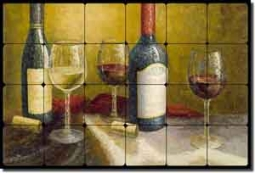 "Ching Wine Tasting Tumbled Marble Tile Mural 24"" x 16"" - CHC093"