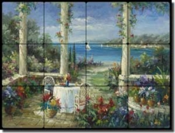 "Ching Seascape Courtyard Tumbled Marble Tile Mural 16"" x 12"" - CHC094"