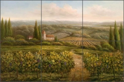 Vineyard Countryside by C. H. Ching Ceramic Tile Mural - CHC096