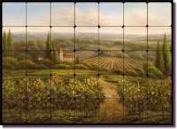 Vineyard Countryside by C. H. Ching Ceramic Tile Mural CHC096
