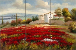 Red Poppy Field by C H Ching Ceramic Tile Mural CHC097