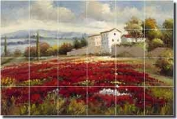 "Ching Poppy Floral Landscape Ceramic Tile Mural 25.5"" x 17"" - CHC097"