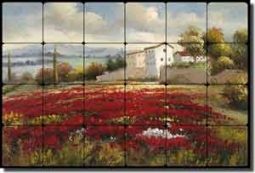 "Ching Poppy Floral Landscape Tumbled Marble Tile Mural 24"" x 16"" - CHC097"
