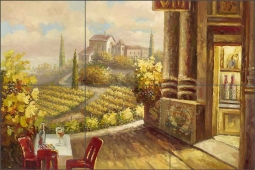 Vineyard Cafe by C. H. Ching Ceramic Tile Mural CHC099