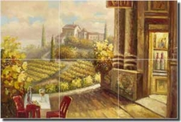 "Ching Vineyard Cafe Ceramic Tile Mural 18"" x 12"" - CHC099"