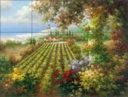 Seaside Vineyard by C. H. Ching Ceramic Tile Mural - CHC101