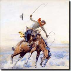 "Russell Western Cowboy Ceramic Accent Tile 4.25"" x 4.25"" - CMR001AT2"