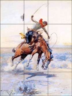 The Bucker by Charles M Russell Ceramic Tile Mural CMR001