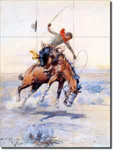 "Russell Western Cowboy Ceramic Tile Mural 12.75"" x 17"" - CMR001"