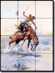"Russell Western Cowboy Tumbled Marble Tile Mural 12"" x 16"" - CMR001"
