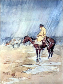 Just a Little Rain by Charles M Russell Ceramic Tile Mural CMR002