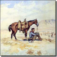 "Russell Western Cowboy Ceramic Accent Tile 4.25"" x 4.25"" - CMR003AT2"